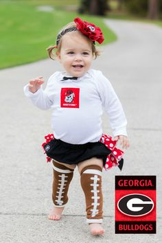 Girls Georgia Bulldogs Cheerleader Outfit, Baby Girls Coming Home Outfit, Girls Football Outfit, Baby Shower Gift from Needles Knots n Bows - Beauty Black Pins Cheerleading Outfits, Football Outfits, Football Girls, Sport Outfits, Girl Outfits, College Football, Football Gear, Football Season, Georgia Bulldogs Baby