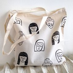 #face #faces #illustration #pattern #etsy #totebag #design