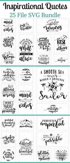 25 Inspirational Quotes SVG cut file bundle that is perfect for diy projects using Cricut or Silhouette machines to make vinyl decals for decorating tumblers, shirts, hats, totes and so much more! #ad #svg #svgcuts #cutfile #cricutmade #cricutexplore #silhouette #cameo #diyprojects #crafts #craftideas #quote #quoteoftheday #quotestoliveby #inspirationalquotes #inspirational Cricut Fonts, Svg Files For Cricut, Cricut Vinyl, Vinyl Decals, Vinyl Projects, Vinyl Crafts, Silhouette Cameo Projects, Silhouette Machine, Cricut Explore
