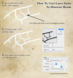 Drawing parallel lines is really hard. There& a simple trick with the stroke tool in photoshop that will let you draw roads on a map quickly and easily You Draw, Learn To Draw, Cartographers Guild, Fantasy World Map, Cyberpunk City, Old World Maps, Map Design, Flyer Design, Design Ideas