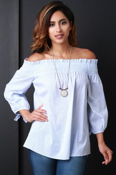 Off The Shoulder Pinstripe Blouse