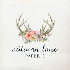 Premade Logo Design Rustic Deer Antler Logo by AutumnLanePaperie