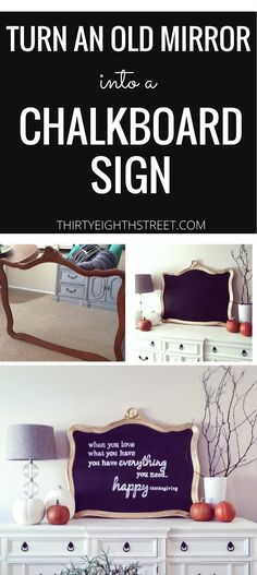 Learn How To Up-cycle A Mirror and Turn It Into A Chalk Board. Enlarge An Image For FREE and Create Beautiful Hand Lettering For Your DIY Signs! Fall Decor. Fall Decorations. DIY Fall Decoration.