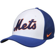 Nike New York Mets White/Royal Vapor Performance Swoosh Flex Hat