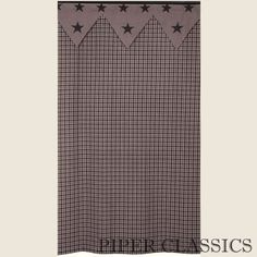 "Our Vintage Star Navy Shower Curtain is a great addition to any country or primitive home, a traditional homespun cloth of navy and khaki check. Lined; 100% Cotton. Dry Clean for best results and to prevent shrinkage. Size: 72"" wide x 72"" long."