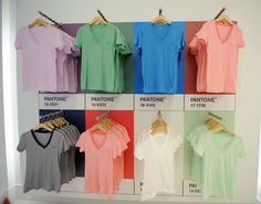 Gap and Pantone have launched a colored T-shirt shop adjacent to its flagship store at and Ave. The Gap + Pantone collaboration fea.