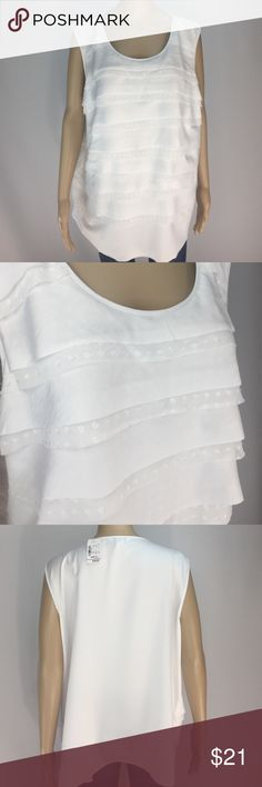 """CJ BANKS layered white top! CJ BANKS layered white top! Beautiful alternating layers of white fabric. Material is 100% poly. Measurements are approx: back length shoulder to hem 26"""", chest 50"""" tapers to  hips 53"""". NWT! Tag size is 20/22W 2X Christopher & Banks Tops Blouses"""