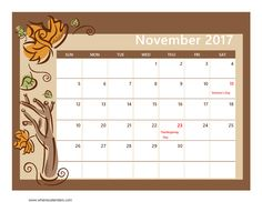 November 2017 Calendar Printable with Holidays