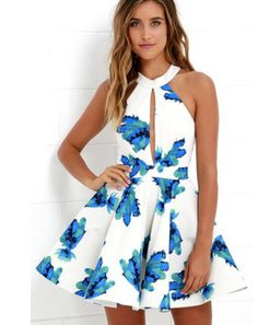 Bloom It May Concern Ivory And Blue Floral Print Dress by Lulu's.Available Colors:Ivory and Blue Floral Print.Available Sizes:Size,S,M,L. Source b. 8th Grade Formal Dresses, Banquet Dresses, Hoco Dresses, Dresses For Teens, Trendy Dresses, Spring Dresses, Dance Dresses, Homecoming Dresses, Cute Dresses