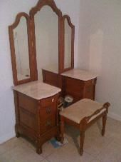 Lexington Victorian Sampler Collection Vanity, Tri View Mirror And Matching  Bench. Mirrors Are