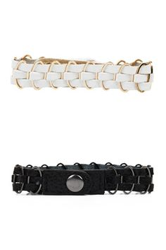 Today's Hot Pick :Metal Leather Thread Bracelet http://fashionstylep.com/SFSELFAA0034168/stylenandaen/out Thin strips of cowhide leather is threaded through metal chains. It comes with a snap closure back.