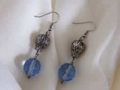 Blue Czech Crystal and Vintage Look Hook Earrings via LauraBijoux. Click on the image to see more!