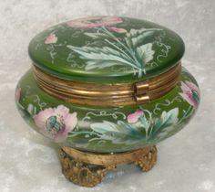 Enameled Green Art Glass Bohemian Trinket Dresser Box
