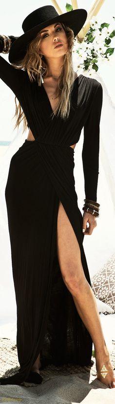 Black Slit Maxi Dress | LadyLuxuryDesigns