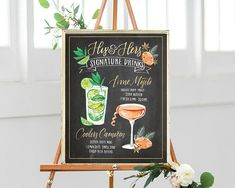 Custom Illustrated Printable Wedding Bar Menu Sign, Watercolor Chalkboard, Signature Cocktail Drinks, His and Hers (digital file only)