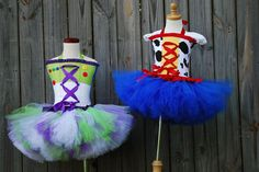 Custom Buzz and Toy Woody or Jessie story inspired tutu dresses corset  made to fit in a size 12 months through 5T.  Larger sizes available on Etsy, $188.00