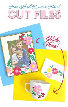 free flower cut files - make adorable flower vinyl decals using your silhouette or cricut Vinyl Crafts, Vinyl Projects, Paper Crafts, Cricut Craft Room, Free Hand Drawing, Hand Drawn Flowers, Spring Projects, Cricut Tutorials, Craft Free