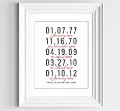 Love this idea  The dates our lives were forever changed