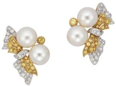 A pair of cultural pearl, diamond and colored diamond earrings #christiesjewels