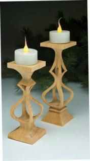 Solid wood stands support small candles InScroll Saw Woodworking & Crafts Holiday 2012 (Issue 49), Sue Mey shared patterns for two different compound-cut candlesticks. Scroll down for a convenient pattern download to get right started cutting these designs. Attachments: Candleholder Pattern Candleholder Pattern 2