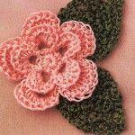 Crochet Flower and Leaves