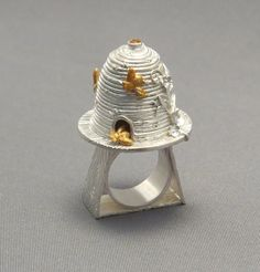 """Holly Dobkin Bee Mindful fine silver, golden citrine, gold pigment, resin 1.25"""" x 1"""" dia size: 5"""