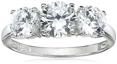 Sterling Silver Round Cut Three-Stone Cubic Zirconia Ring (2.3 cttw) * You can get more valentines gift ideas by clicking on the image.