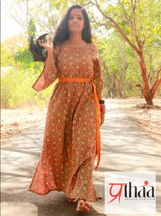 MAXI DRESS - Please yourself in this Cotton Belted Maxi Dress.This trendy dress promises you a comfortable wearing experience. It is perfect for the sultry summers.