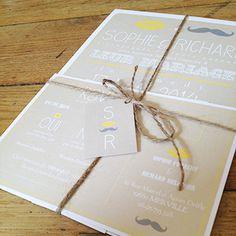 Faire part vintage jaune et beige moustache | Sweet Paper