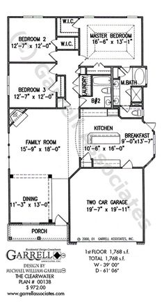 Clearwater House Plan 01138, 1st Floor Plan, Ranch Style House Plans, One Story House Plans