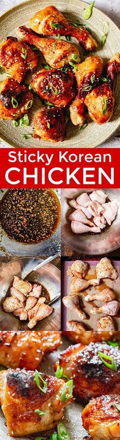 Sticky Korean Chicken - NatashasKitchen.com Chicken Recipes At Home, Grilled Chicken Recipes, Meat Recipes, Asian Recipes, Dinner Recipes, Cooking Recipes, Marinade Chicken, Ethnic Recipes, Asian Foods