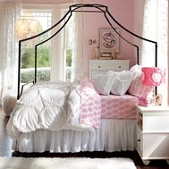 Girls Rooms | PBteen love color of walls light pink with white and black accents |Pinned from PinTo for iPad|