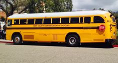 Kern County Superintendent of Schools bus at Mission Santa Barbara Santa Barbara Mission, Kern County, School Buses, Crown, Optimus Prime, Blue Bird, Vintage Cars, Schools, Motorcycle