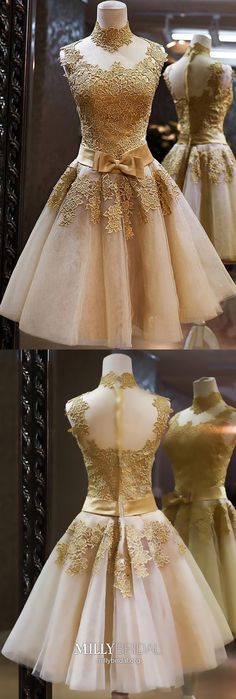 Short Wedding Dresses : Gold Homecoming Dress,A-line Homecoming Dresses,High-neck Homecoming Dress,Appliques Short Prom Dress,Charming Homecoming Ball Dresses, Evening Dresses, Short Dresses, Prom Dresses, Formal Dresses, Bride Dresses, Sexy Dresses, Pretty Dresses, Beautiful Dresses