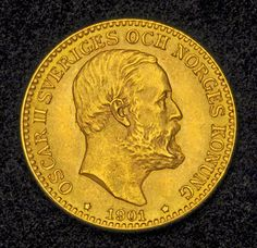 Swedish Gold Coins 10 Kronor Gold Coin of 1901, Oscar II
