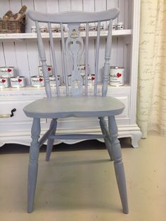 Hand chalked in Frenchic Stormy and finished with Frenchic White Wax.