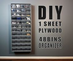 "How to build a very simple wall organizer using one single sheet of plywood and 48 plastic bins. I am building my workshop and I needed to add storage for my small parts. Quick and easy to build, this will organize my workshop. Im using small plastic bins : 6""1/4 wide, 3""3/4 high, 7""1/2 depth."