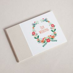 Wedding Guest Book, Floral Wreath – Paper Luxe