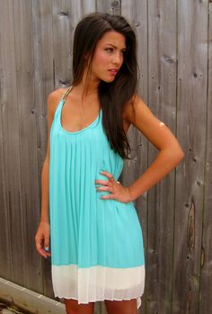 Aqua Pleat Dress