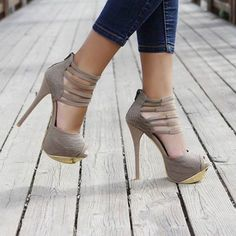 Taupe pumps with gold accents