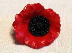 Your place to buy and sell all things handmade Flower Button, Red Poppies, Deep Purple, Poppy, Buttons, Bright, Handmade, Vintage, Craft