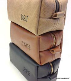Personalized Groomsman Gifts Leather HANDMADE Dopp Kit  Toiletry Bag Shaving Kit for Groomsmen Gift on Etsy, $60.00