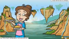 A Woman Showing Off Her Freshly Baked Pies And Mystic Levitating Mountains Background More Information