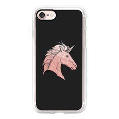 Elegant faux rose gold black fantasy mystical unicorn - iPhone 7 Case,... (125 BRL) ❤ liked on Polyvore featuring accessories, tech accessories, iphone case, iphone cases, apple iphone case and iphone cover case