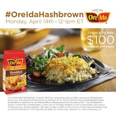 *CLOSED* Join #OreIdaHashbrown Twitter Party 4/14 12pm ET. #Recipes for Easter! Prizes $550! Rules http://cbi.as/6q2gj  #shop