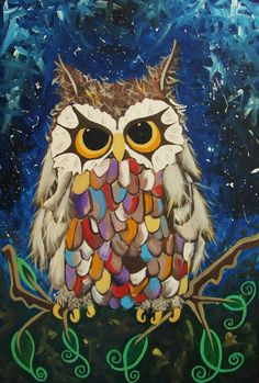Original 'Little Owl' painting A Magical owl in acrylic painted on canvas with his own original story and charactor large 30 X 12