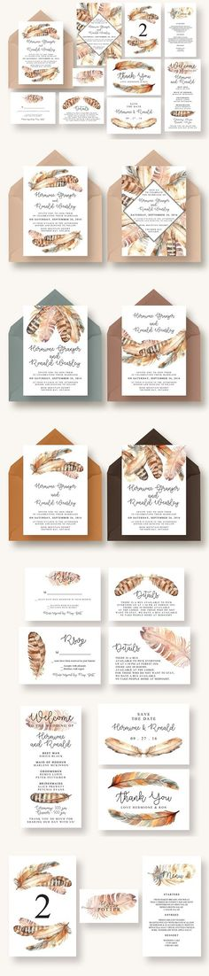 Boho Feather Invitation Suite. Invitation Templates. $22.00