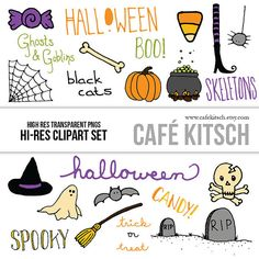 INSTANT DOWNLOAD  Halloween Doodle Set  by PepperStudio on Etsy
