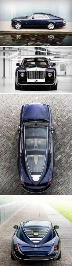 This stunner of a car isn't for sale. The Rolls Royce Sweptail isn't a concept, but rather, it's tailor-made for one RR patron who wanted a luxury car that was comparable to that of a yacht. Designed with Rolls Royce's signature styling on the front, you' Auto Rolls Royce, Voiture Rolls Royce, Maserati, Bugatti, Cool Sports Cars, Sport Cars, Cool Cars, Moto Quad, Affordable Luxury Cars