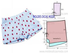 Pattern for shorts Underwear Pattern, Lingerie Patterns, Sewing Lingerie, Clothing Patterns, Sewing Shorts, Sewing Clothes, Diy Clothes, Easy Sewing Patterns, Sewing Tutorials